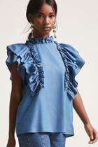 Forever21 Chambray Ruffle Top