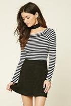 Forever21 Striped Ribbed Knit Top