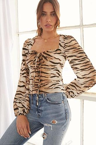 Forever21 Tiger Striped Print Top