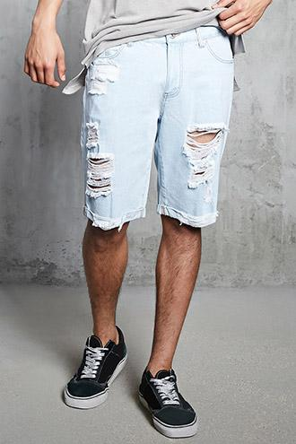 Forever21 Destroyed Cuffed Denim Shorts
