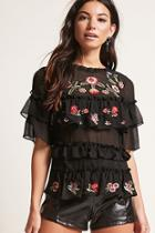 Forever21 Embroidered Ruffle Chiffon Top