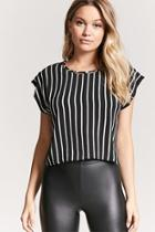 Forever21 Striped Textured Chiffon Top
