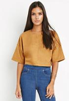 Love21 Paneled Faux Suede Top