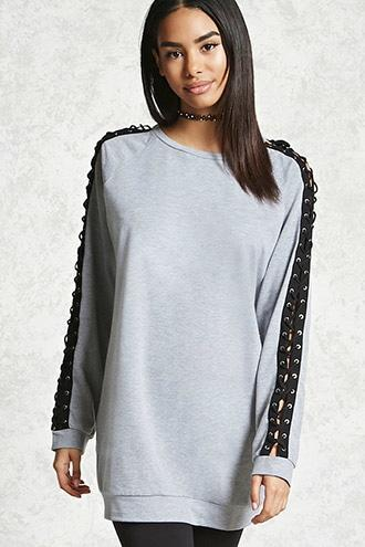 Forever21 Lace-up Raglan Pullover