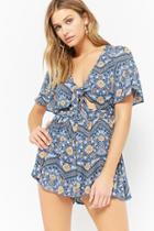 Forever21 Floral Paisley Cutout Romper