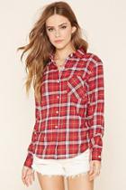 Forever21 Women's  Red & Cream Tartan Plaid Shirt