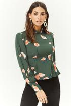 Forever21 Satin Floral Pleated Top