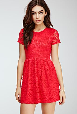 Forever21 Floral Lace Skater Dress Red Small