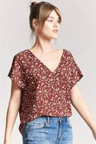 Forever21 Textured Floral Chiffon Top