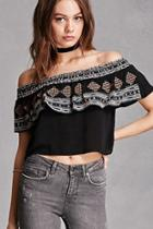 Forever21 Embroidered Flounce Crop Top