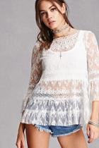 Forever21 Sheer Crochet Lace Top