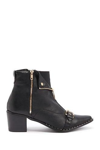 Forever21 Faux Leather Studded Ankle Boots