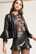 Forever21 Faux Leather Flounce Jacket