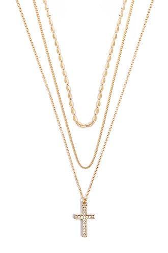 Forever21 Rhinestone Cross Necklace Set