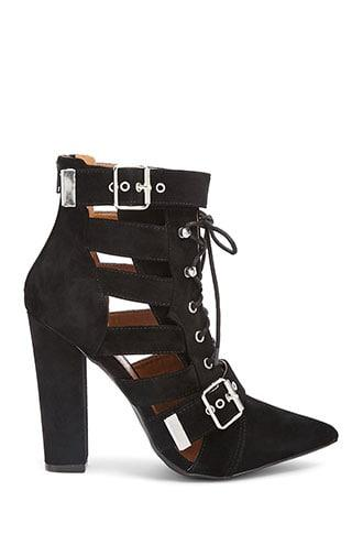 Forever21 Faux Suede Strappy Ankle Boots