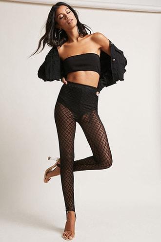 Forever21 Diamond Mesh Stirrup Leggings