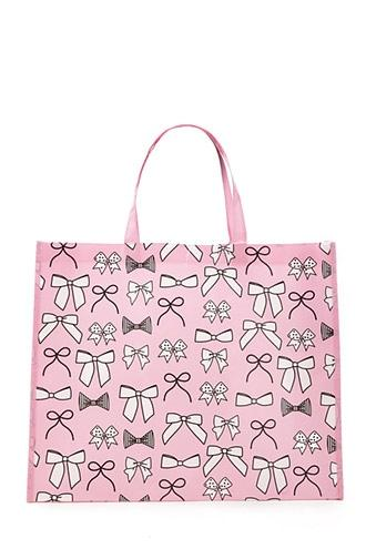 Forever21 Bow Print Eco Shopper Tote