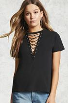 Forever21 Lace-up Boxy Tee
