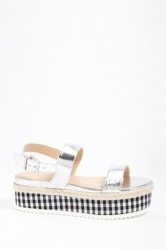 Forever21 Metallic Gingham Platform Sandals