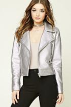 Forever21 Women's  Lavender Faux Leather Moto Jacket