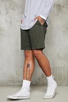21 Men Men's  Olive Cotton-blend Chino Shorts