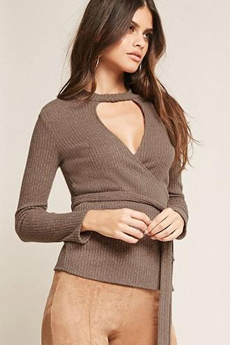 Forever21 Ribbed Wrap Sweater
