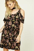 Love21 Women's  Black & Rust Contemporary Floral Swing Dress