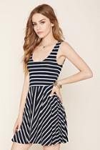 Forever21 Women's  Navy & Cream Striped Knit Dress