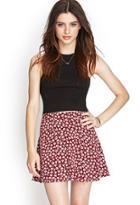 Forever21 Women's  Wine & Light Pink Floral Print Skater Skirt