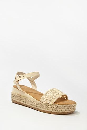 Forever21 Faux Leather & Straw Espadrille Wedges