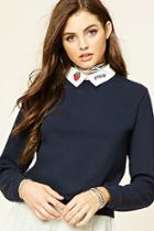 Forever21 Women's  Graphic Collar Sweater
