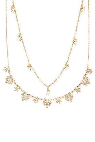 Forever21 Rhinestone Leaf Necklace Set