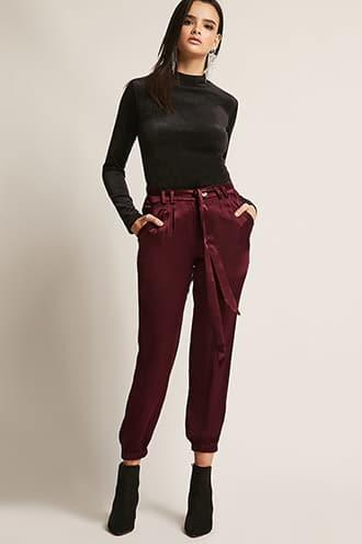 Forever21 Satin Self-tie Joggers