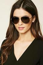 Forever21 Olive & Gold Aviator Sunglasses