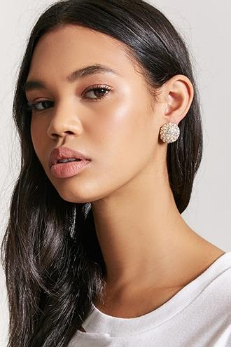 Forever21 Large Pave Stud Earrings