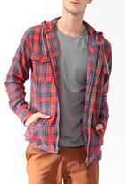21 Men Hooded Plaid Shirt