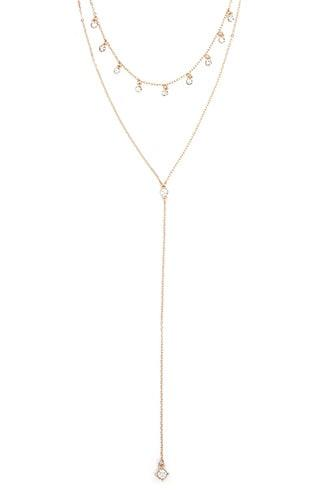Forever21 Layered Rhinestone Drop Necklace
