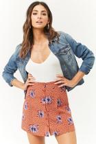 Forever21 Floral Print Button-front Skater Skirt