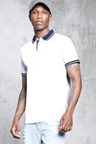 Forever21 Striped Trim Polo Shirt