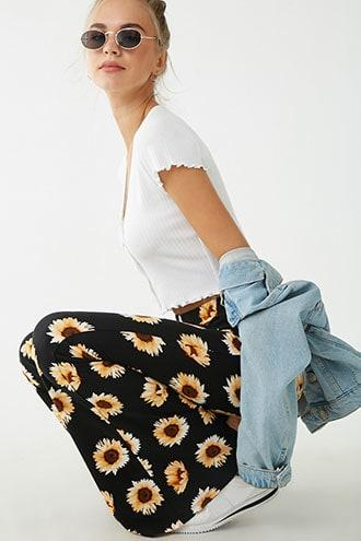 Forever21 Daisy Print Flare Pants