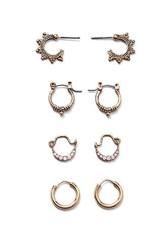 Forever21 Etched Mini Hoop Earring Set