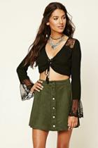Love21 Women's  Olive Contemporary Faux Suede Skirt