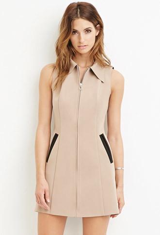 Love21 Collared Zip-front Dress