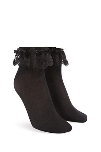 Forever21 Lace-trim Crew Socks
