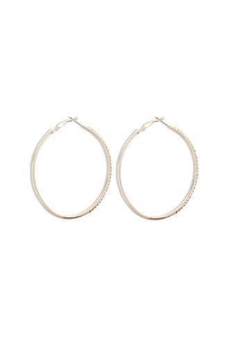 Forever21 Oval Rhinestone Hoop Earrings