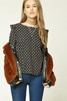 Forever21 Abstract Print Ruffled Top