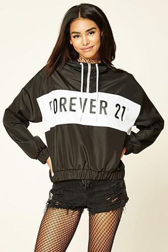 Forever21 Women's  Forever 21 Graphic Windbreaker