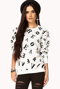 Forever21 Mixed Letters Sweatshirt