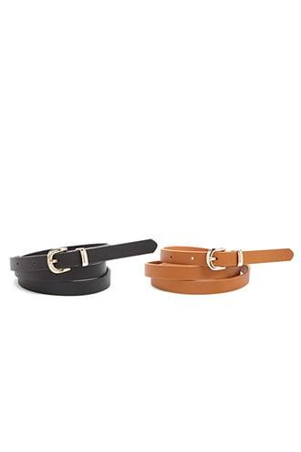 Forever21 Skinny Faux Leather Belt Set