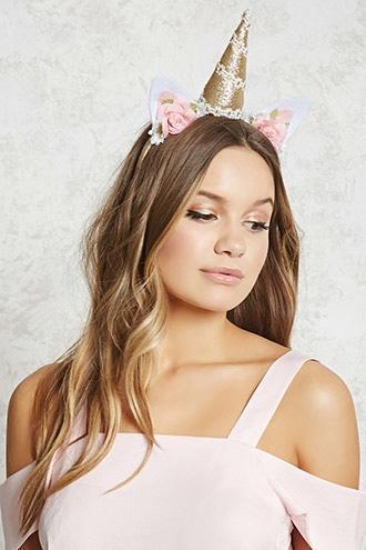 Forever21 Unicorn Floral Glitter Headband
